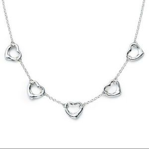 Authentic Tiffany & Co 5 Open Heart Necklace